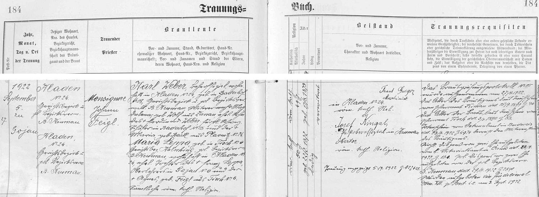 """Záznam kájovské oddací matriky o svatbě jeho dcery Marie s Karlem Weberem, oddával je, jak je tu psáno, """"Monsignore Johann Feigl"""", zřejmě nevěstin příbuzný"""