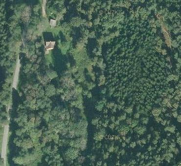 Místa, kde stával Lojzův mlýn u Běleně (při silnici vlevo na Všímarském potoce, nic jiného tu podle mapy dál kVltavě neteče), na leteckých snímcích z let 1952 a 2008 (viz i Adalbert Leppa a Karl Franz Leppa)