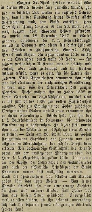 Nekrolog v českokrumlovském německém listu