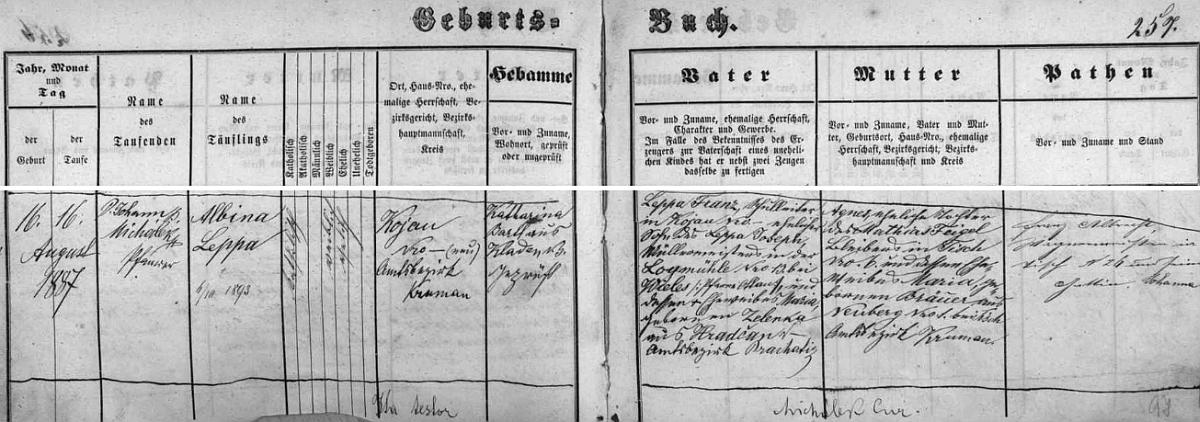 Záznamy kájovské křestní matriky o narození dalších dvou dětí, Johanna a Albiny