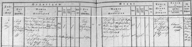 Záznam o jeho svatbě v oddací matrice farní obce Ktiš
