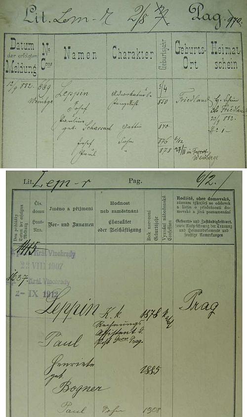 Pražské policejní přihlášky jeho otce, matky a bratra a jeho samého, pak i samostatně se ženou