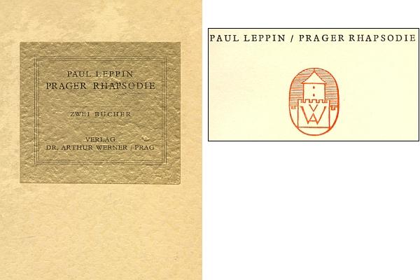 Zlatá viněta na knižní kazetě dvou svazků jeho Pražské rapsodie (1938) a patitul s nakladatelskou značkou