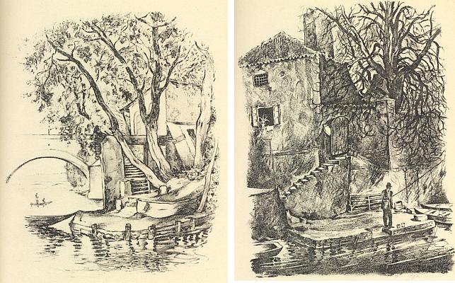 Mocné sepětí města s řekou ze Šumavy na dvou litografiích, jejichž autorem je Hugo Steiner-Prag (1880-1945), pražský rodák, zesnulý v září roku 1945 v New Yorku, z Leppinovy Pražské rapsodie