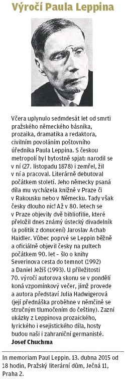 Připomínka 70. výročí jeho skonu na stránkách pražského listu, jejímž autorem je Josef Chuchma