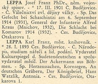 Jeho a bratrovo heslo v Kulturním adresáři ČSR (1934)