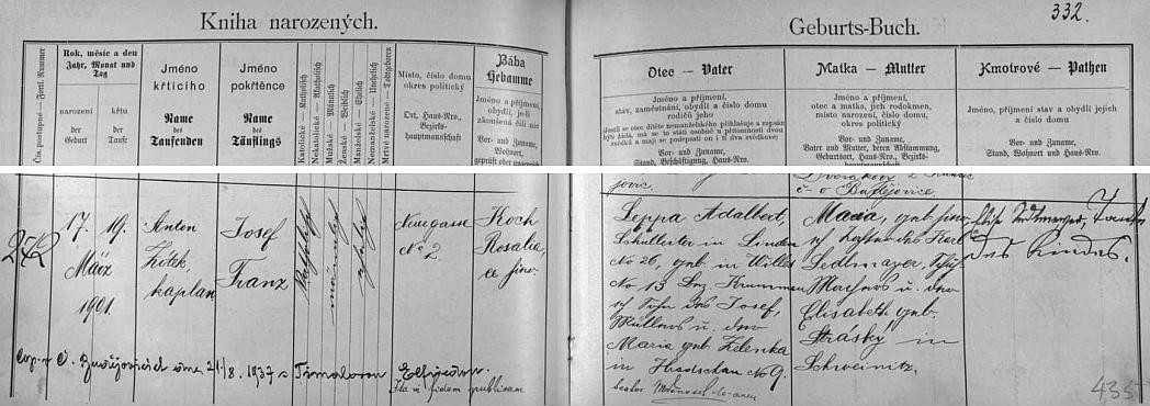 Záznam v budějovické knize narozených svědčí mimo jiné i o tom, že se tu 21. srpna 1937 oženil ve svých 36 letech sElfriedouTimalovou
