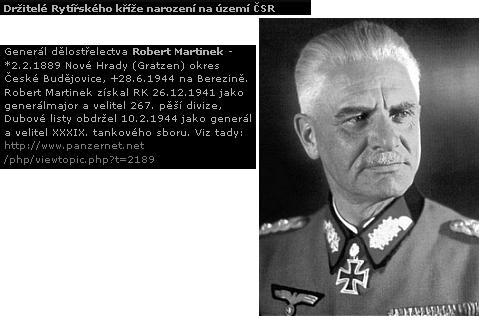 Generál Martinek na českém webu, věnovaném 2. světové válce