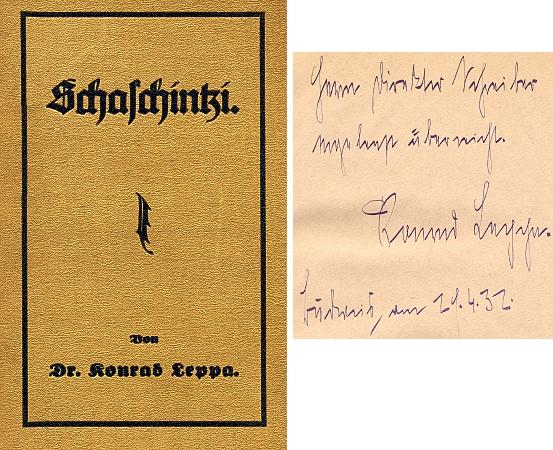 Vazba jeho knihy vydané ve dvacátých letech minulého století v Liberci (Heimat Söhne im Weltkrieg) svlastnoručním věnováním