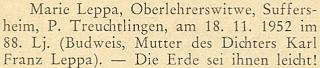 Zpráva o úmrtí jeho a bratrovy matky na stránkách prosincového čísla krajanského měsíčníku v roce 1952