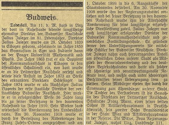 Nekrolog Julia Zulegera, otce generála Zulegera, prvního ředitele muzea v Českých Budějovicích a čestného občana města