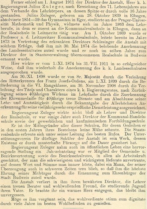 Životopis otce generála Zulegera na stránkách výroční zprávy německé reálky v Českých Budějovicích, jejímž ředitelem byl po 36 let (1874-1911)