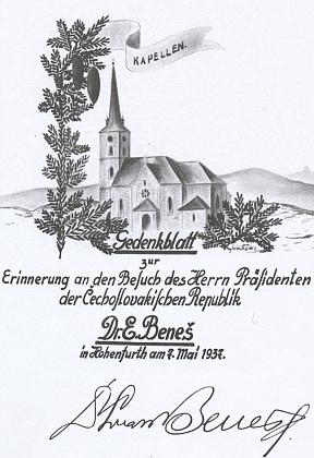Pamětní list z kroniky zaniklé obce upomíná na návštěvu Dr. Edvarda Beneše ve Vyšším Brodě 7. května roku 1937
