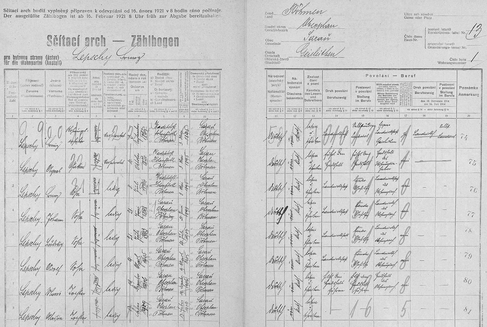 Arch sčítání lidu z roku 1921 pro dům čp. 13 v Kozí Stráni