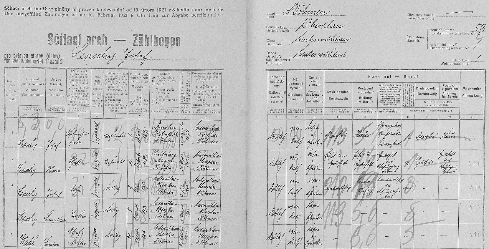 Arch sčítání lidu z roku 1921 pro dům čp. 53 v Dolní Vltavici