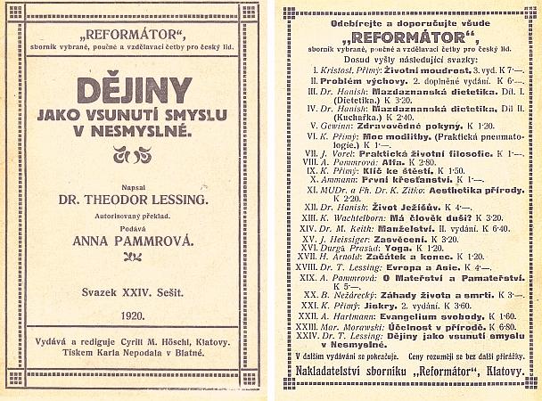 """Obálka (1920) i se seznamem """"šumavské"""" edice Reformátor (nakladatel Cyrill M. Höschl, Klatovy)"""