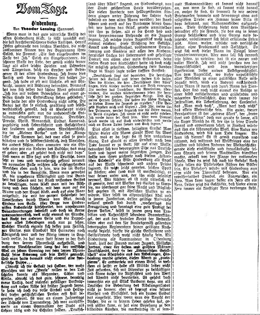 Lessingův článek o Hinderburgovi v Prager Tagblatt