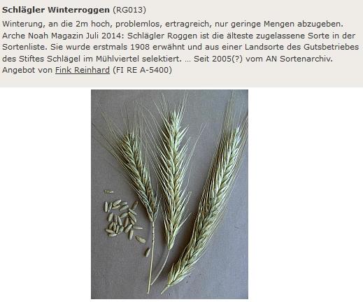 O žitné odrůdě Schlägler Winterroggen v online databázi kulturních rostlin
