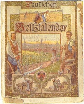 Obálka šumavského kalendáře z roku 1919 má na sobě jeho podpis