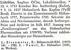 Biografický lexikon k dějinám českých zemí má sice za Lichtblauovo rodiště Kačerov, okr. Žamberk, odvolává se však zároveň na Raphaela Pavla