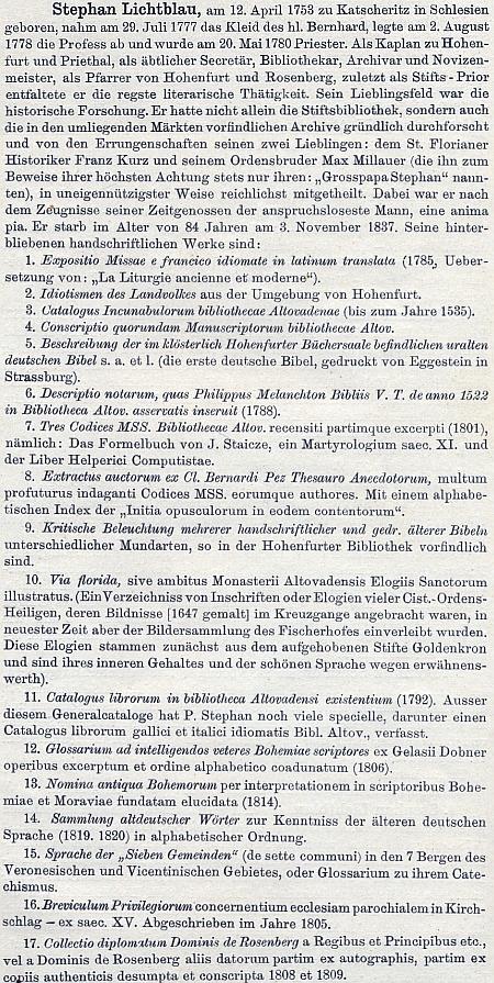 """Raphael Pavel při výčtu Lichtblauových prací uvádí jako jeho rodiště slezské Katscheritz (Kačice) - v úvahu tedy ohledně Lichtblauova rodiště připadá jak Kietrz v Opolsku (německy Katscher), tak """"slezské"""" Kaczyce (německy Katschitz), shodou okolností v obou případech místa náležející kdysi kčeským zemím"""