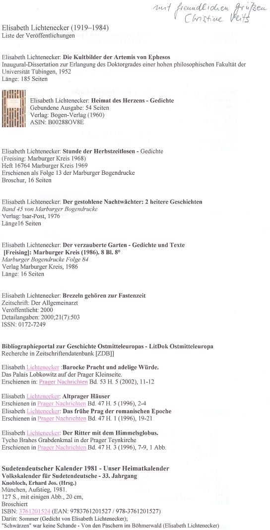 Její bibliografie z dopisu Christine Veitsové
