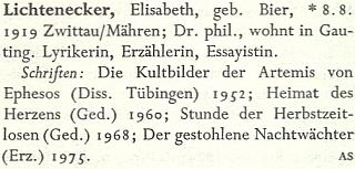 Heslo v německém literárním lexikonu ještě bez data úmtrí
