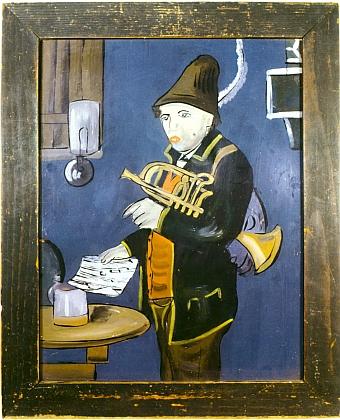 Naivistická malba na skle z konce 19. století má šumavský původ azpodobuje vesnického muzikanta s trumpetou