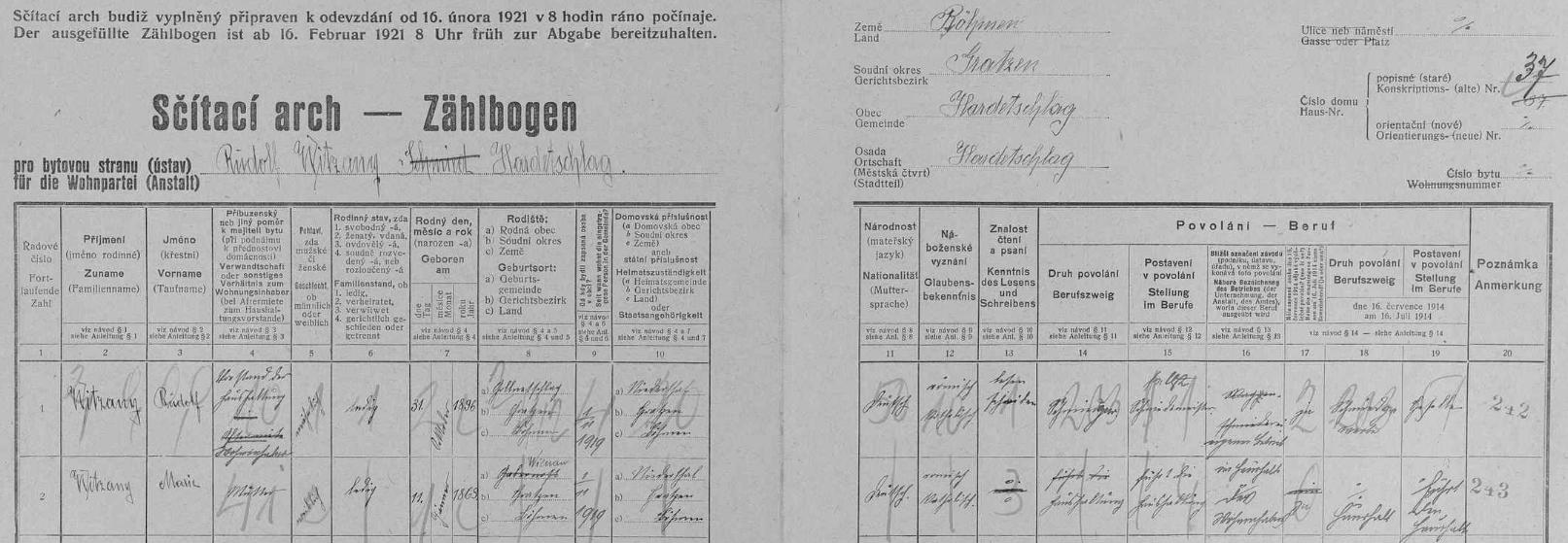 Příjmení Witzany se v Hartunkově během sčítání lidu v roce 1921 vyskytovalo jen na stavení čp. 37 /už ve vsi nestojí/, kde žil kovář /i podle rukopisu pevné a rázné ruky/ Rudolf Witzany (*31. října 1896 v Klení /Gollnetschlag/), tehdy dosud svobodný, se svou matkou Marií (*11. ledna 1863 veŠtiptoni /Wienau/, přeškrtnuto je původní označení rodiště Kapinos /Gabernost/)