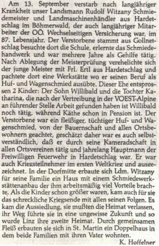 Nekrolog jejího otce na stránkách krajanského listu napsal Karl Hoffelner