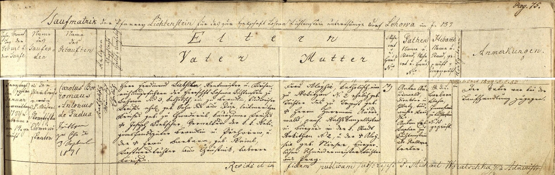Záznam o jeho narození v křestní matrice farní obce Líšťany (Lichtenstein)