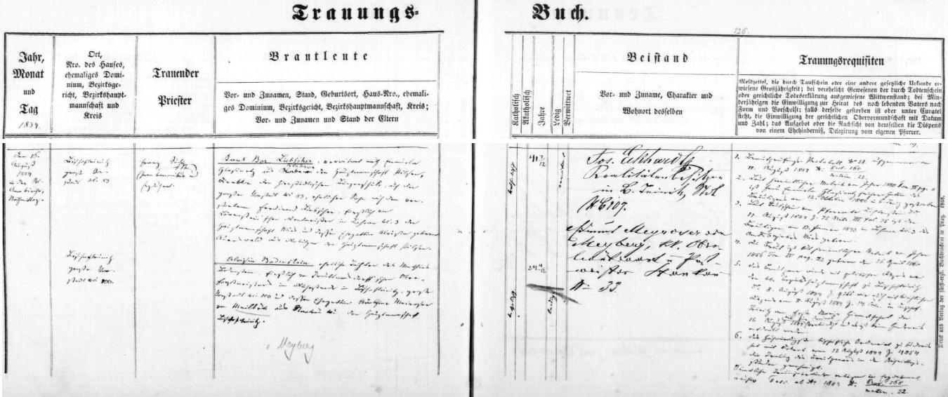 Záznam o svatbě v horšovskotýnské oddací matrice