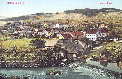 Dvě staré barevné pohlednice s městečkem  Vyšší Brod z roku 1910