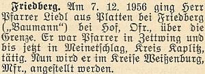 O odchodu faráře Liedla z Malont v prosinci roku 1956 do Německa