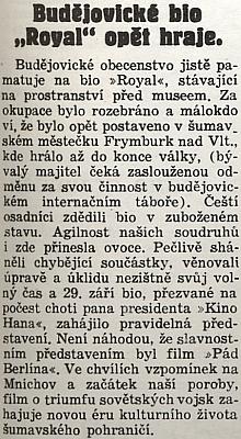 """""""Bio Royal"""" a jeho bývalý majitel ve zprávě Jihočeské pravdy z října 1946 - veFrymburku     asi ne nadlouho změnilo jméno na """"Kino Hana"""" po """"choti pana presidenta"""""""