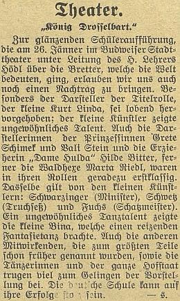 Recenze žákovského představení hry o králi Drozdivousovi včeskobudějovickém městském divadle 26. ledna 1930 zaznamenává vystoupení tehdy ani ne jedenáctiletého Kurta Lindy v titulní roli jako doklad neobyčejného talentu