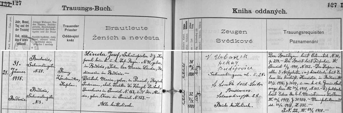 """Jeho otec Josef si tu podle záznamu v českobudějovické """"Knize oddaných"""" dne 31. ledna roku 1918 bere jako herec akaprál zdejšího c.k. pěšího regimentu č. 91 a nemanželský syn posluhovačky Marie Lindové za ženu Marii Deutschovou, dceru Wenzela Deutsche z Nepomyšle, okr. Podbořany - jedním ze svědků byl česky psaný budějovický pekař Urbanek"""