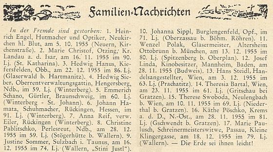 """Rubrika """"rodinných zpráv"""" v krajanském časopise uvádí v odstavci pod názvem """"In der Fremde sind gestorben"""" (tj. """"V cizině zemřeli"""") i datum otcova skonu v bádenském Mahhheimu"""