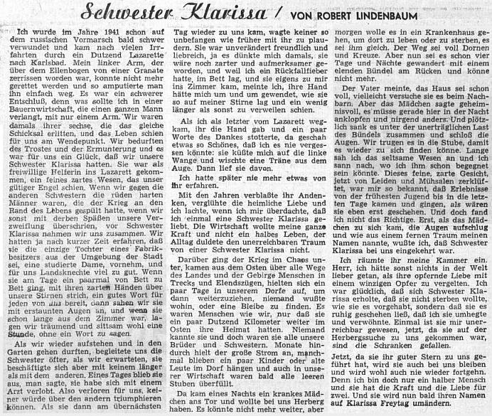 Jeho povídka ozdobila v lednu 1953 ženskou stránku ústředního listu vyhnaných krajanů