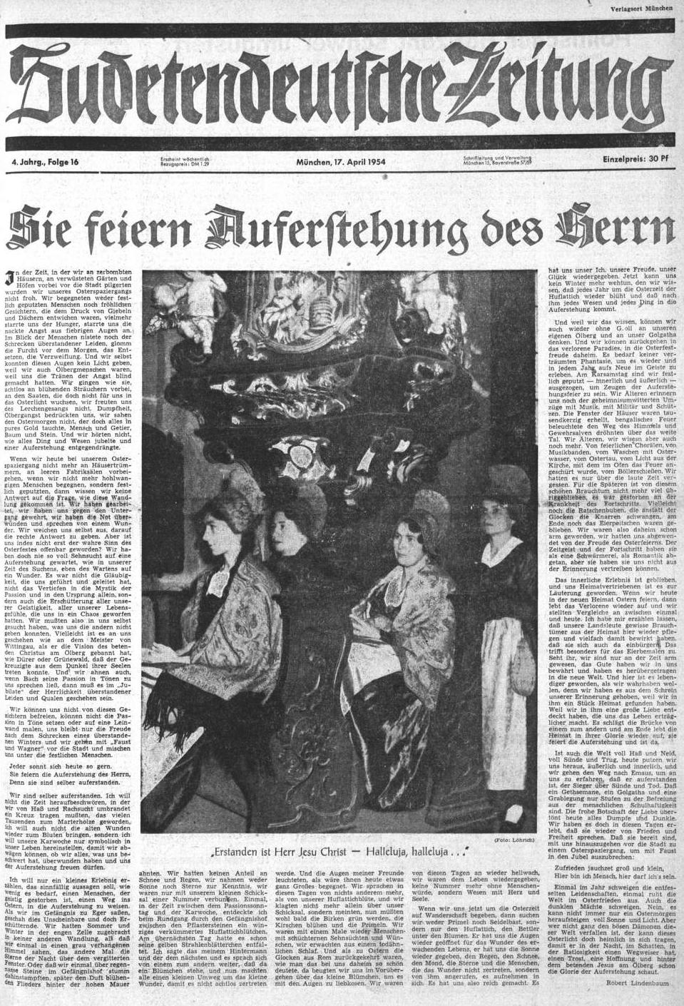 Jeho velikonoční poselství bylo v roce 1954 úvodem svátečního čísla Sudetendeutsche Zeitung