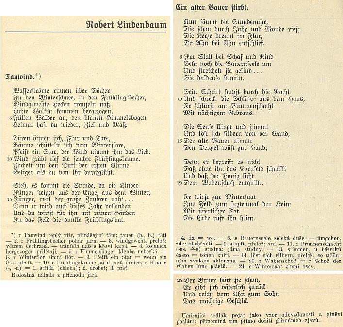 """Dvě jeho básně jsou i součástí výboru (1931) německé lyriky """"aus der Čechoslovakei"""", který pořídil Otto Pick pro edici """"německé četby pro školy a širší veřejnost"""", vydávanou Státním nakladatelstvím v Praze"""