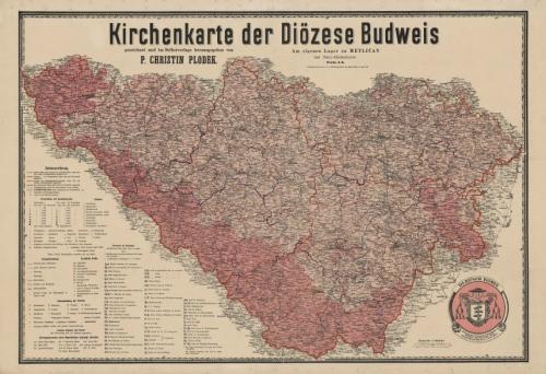 Mapa Budějovické diecéze z roku 1890 (klikněte na náhled pro digitalizovanou mapu)