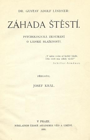 Titulní list jeho filosofického spisu, který česky vyšel více než 60 let po svém německém originálu z roku 1868