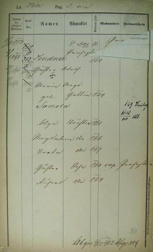 Pobytová přihláška pražského policejního ředitelství s prvým datem z listopadu roku 1883 prozrazuje i dívčí jméno manželčino a letopočty narození jejího i jejich dětí