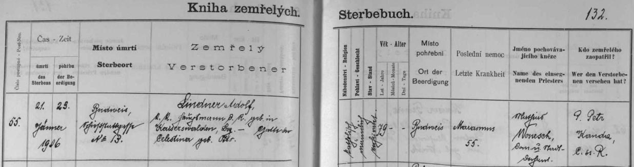 Záznam českobudějovické knihy zemřelých o jeho skonu