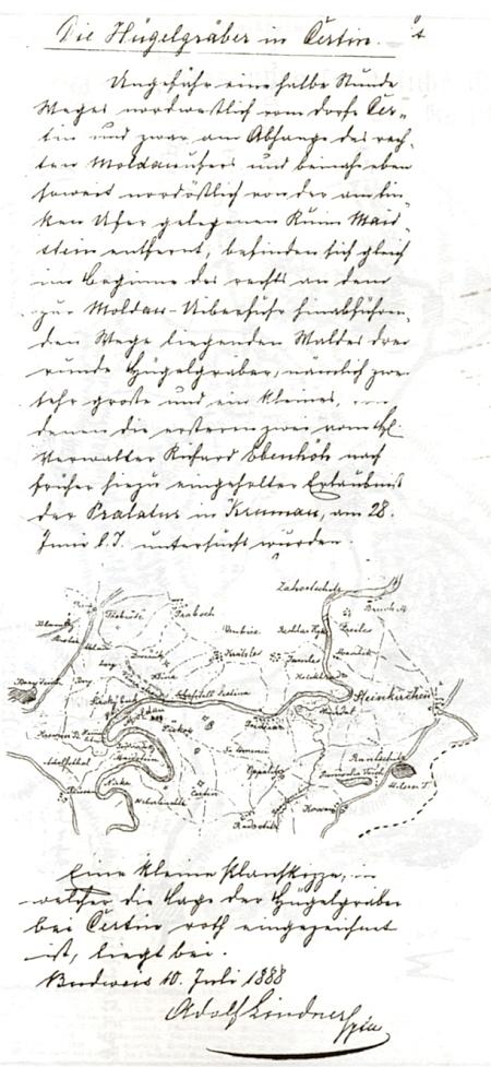 Jeho dokumentace výzkumu mohyl u Záluží (Čertyně) v lese Kopřivna roku 1888 - rukopis uložen vJihočeském muzeu v Českých Budějovicích, na tomto archeologickém výzkumu s ním pracoval i Johann Nepomuk Woldřich