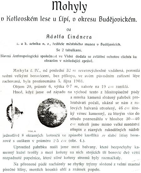 Z dokumentace jeho výzkumu mohyl v Kotlovském lese u Lipí z roku 1903
