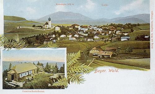 I na těchto dvou starých pohlednicích vidíme Lam, Vysoký Bogen i Ostrý pěkně pohromadě