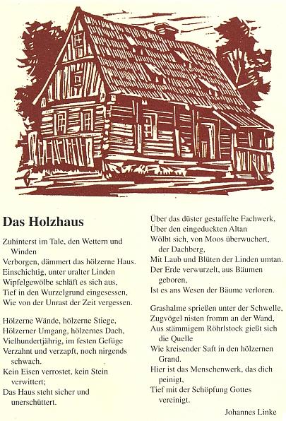 Jeho báseň Dřevěný dům na stránkách časopisu Der Bayerwald v roce 2009