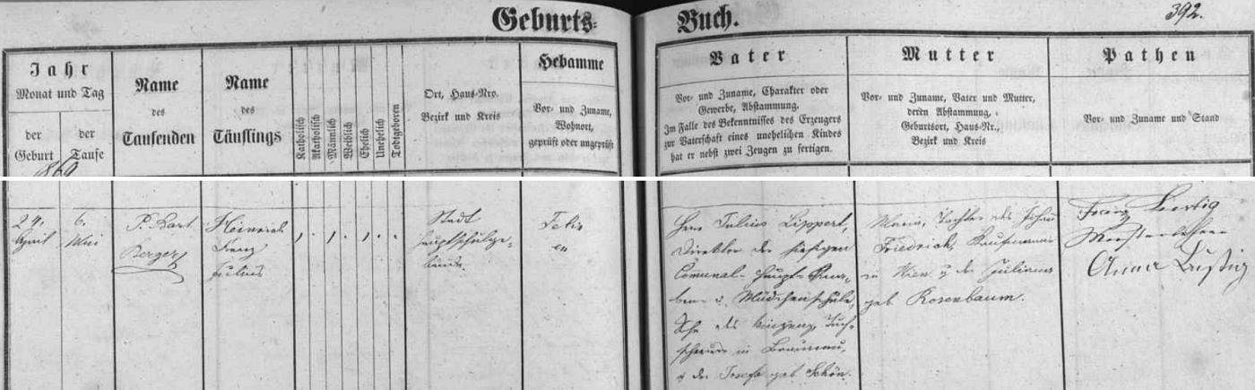 """Záznam o narození a křtu jeho syna Heinricha Franze Julia v českobudějovické matrice - jako kmotr je tu podepsán """"vzorný učitel"""" Franz Lustig (1813-1882), první předseda zdejšího pěveckého spolku Liedertafel (1856-1945), se svou ženou Annou"""